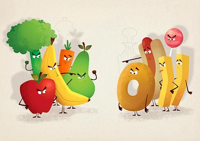 Večita borba - zdrava vs. nezdrava hrana (foto: newhealthadvisor.com)